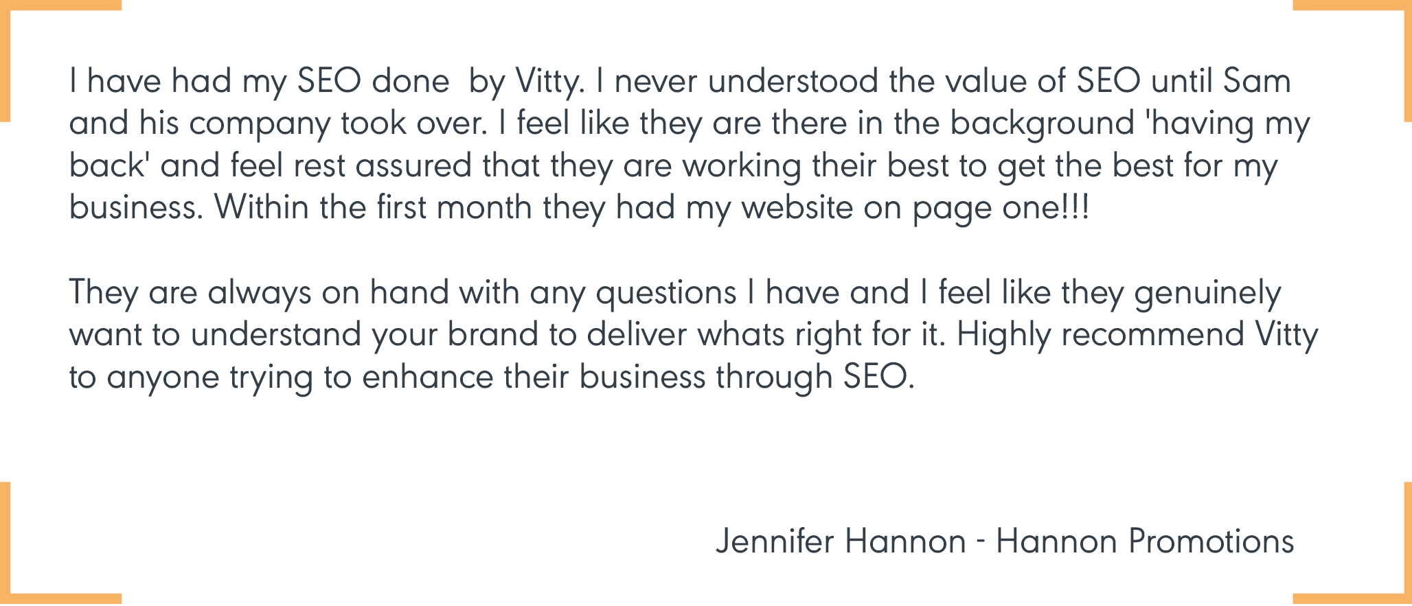Jennifer from Hannon Promotions